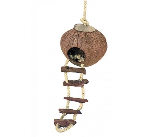 Domek kokos křeček se žebříkem, Duvo+ prům. 13 x 13 cm