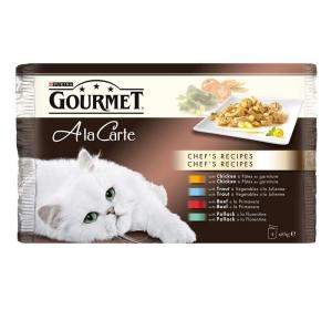 Gourmet A la Carte cat kaps.- Multipack kuře,hov. 4 x 85 g
