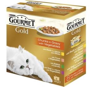 Gourmet Gold cat konz.-k.masa Exotic Multipack 7 + 1 ks x 85 g