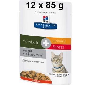 Hill's Feline Metabolic + Urinary Stress kapsička 12 x 85 g