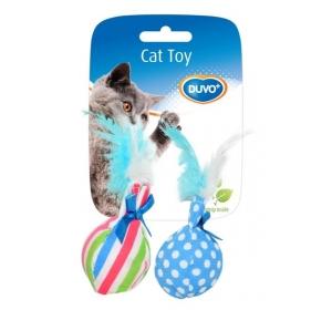 Hračka cat textil Balónek s peřím mix barev Duvo+ 2 ks
