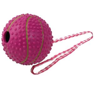 Hračka DOG FANTASY přetahovadlo basketbalový míč červený