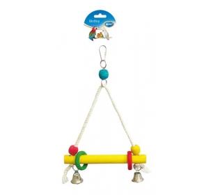 Hračka pták dřevo/bavlna - houpačka+zvonky Duvo+ 20 x 33 cm