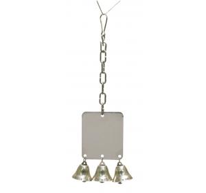 Hračka pták kov Zrcátko + zvonky RW 27 cm