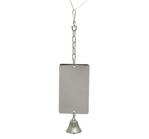 Hračka pták kov Zrcátko + zvonek RW 37 cm