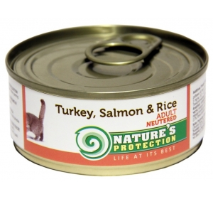 Nature's Protection Cat konzerva Neutered Turkey, Salmon&Rice 100 g