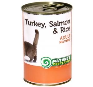 Nature's Protection Cat konzerva Neutered Turkey, Salmon&Rice 400 g