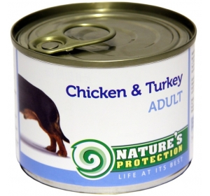 Nature's Protection Dog konzerva Adult Chicken&Turkey 200 g
