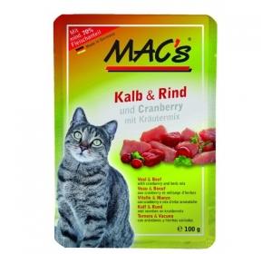 Kaps. MACs Cat Telecí, Hovězí a Brusinka 100g