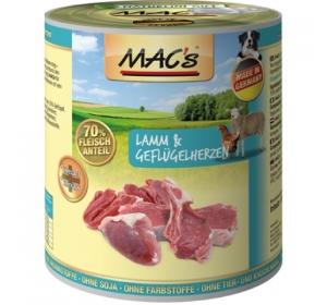Konz. MACs Dog Jehně a Drůbeží srdce s rýží 400g
