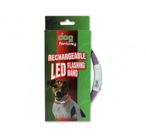 Obojek DOG FANTASY LED světelný fialový 45 cm