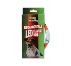Obojek DOG FANTASY LED světelný oranžový 45 cm