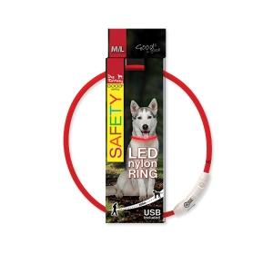 Obojek DOG FANTASY LED nylonový červený M-L