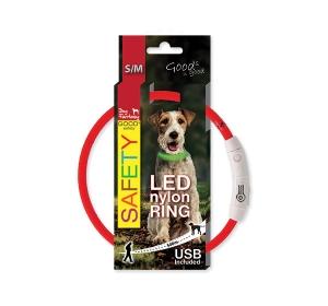 Obojek DOG FANTASY LED nylonový červený S-M