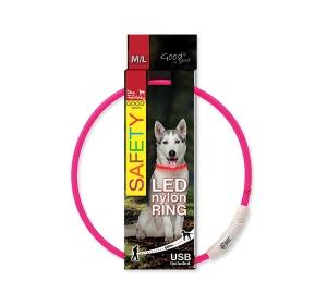 Obojek DOG FANTASY LED nylonový růžový M-L