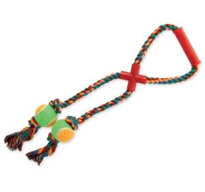 Přetahovadlo DOG FANTASY s držákem barevné + 2 tenisáky 50 cm