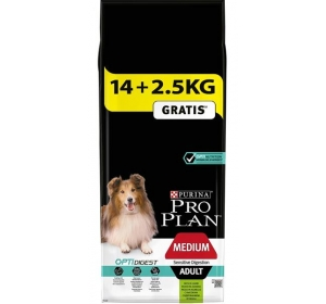 Purina PRO PLAN Dog Adult Medium Sens.Dig.Lamb 14+2,5 kg zdarma