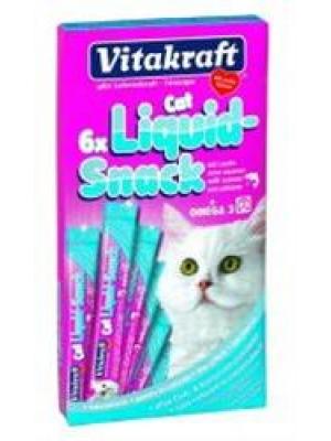Vitakraft snack cat Liguid Omega 3 losos 6 x 15 g